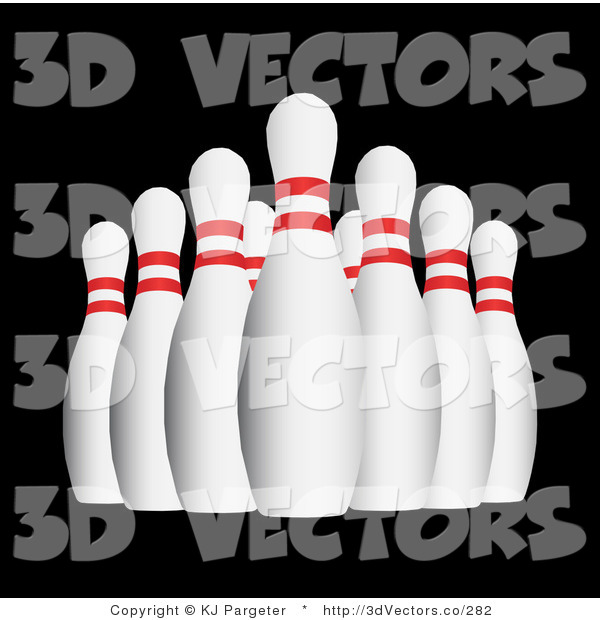 3d Vector Clipart of Bowling Pins on Black
