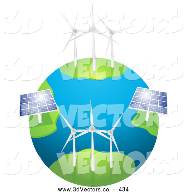 3d Vector Clipart of Eco Friendly Wind Farm Turbines and Solar Panels Generating Energy on Planet Earth, on a White Background