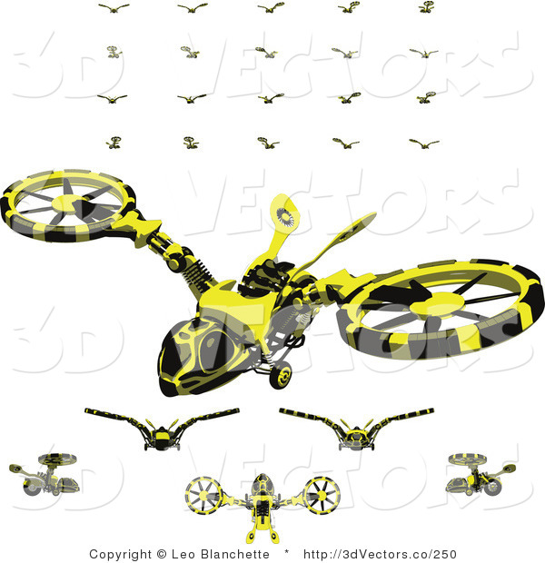 3d Vector Clipart of Hovercraft Vehicles