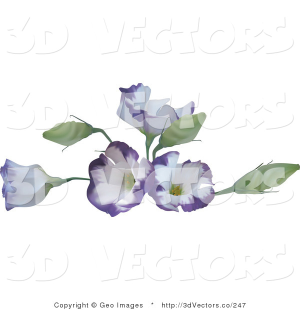 3d Vector Clipart of Purple Flowers