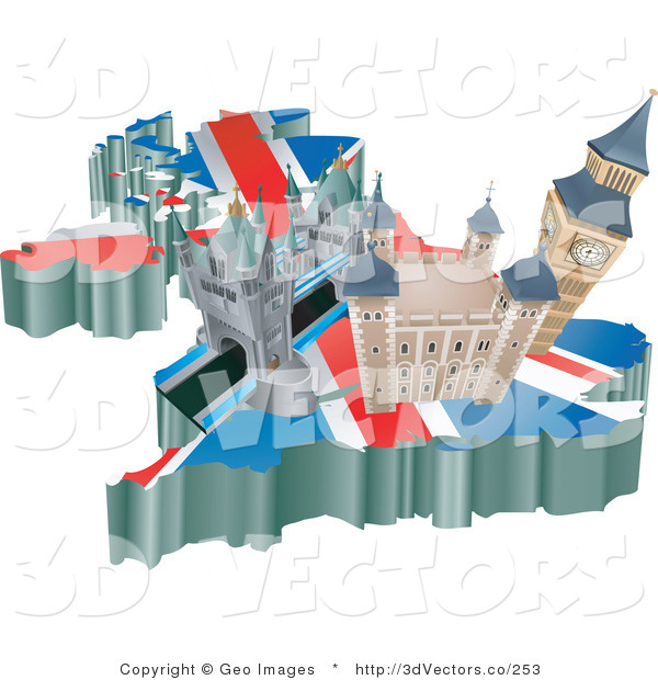 3d Vector Clipart of Tourist Attractions in the United Kingdom on a Flag Map