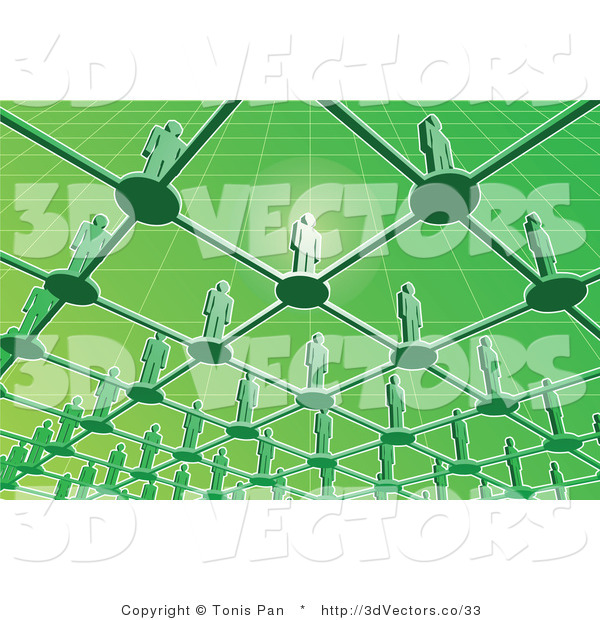 3d Vector of Green People Standing on a Network Grid