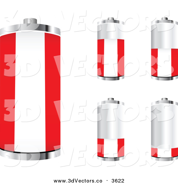 Vector Clipart of 3d Austrian Flag Batteries at Different Charge Levels