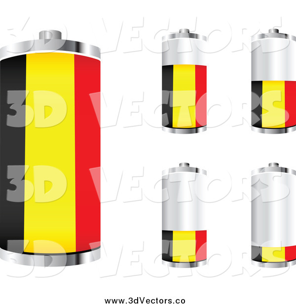 Vector Clipart of 3d Belgian Flag Batteries