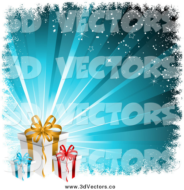 Vector Clipart of 3d Christmas Gifts over a Bursting Blue Background with Grunge and Stars
