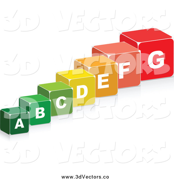 Vector Clipart of 3d Colorful Energy Chart Boxes