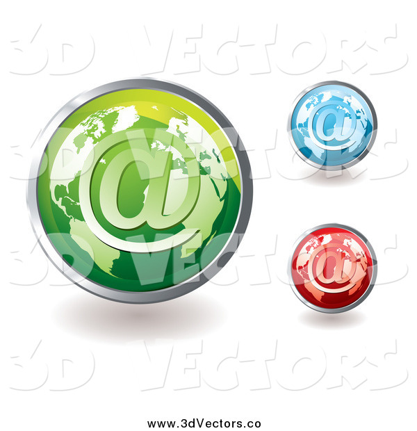 Vector Clipart of 3d Colorful Global Email Icons