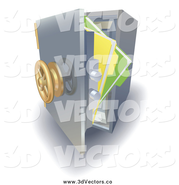 Vector Clipart of 3d Files in an Open Safe Vault