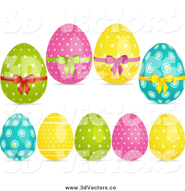 Vector Clipart of 3d Floral and Polka Dot Easter Eggs