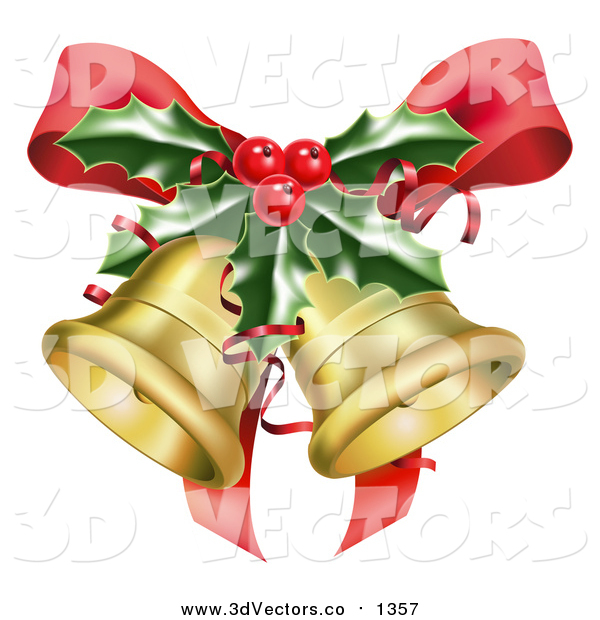 Vector Clipart of 3d Golden Christmas Bells, a Red Bow and Sprig of Holly