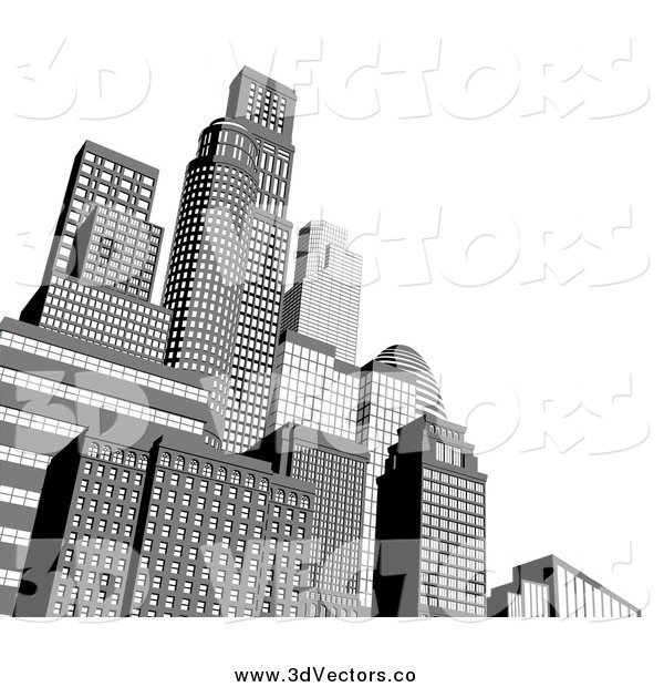 Vector Clipart of 3d Grayscale City Skyscraper Buildings with White Copyspace