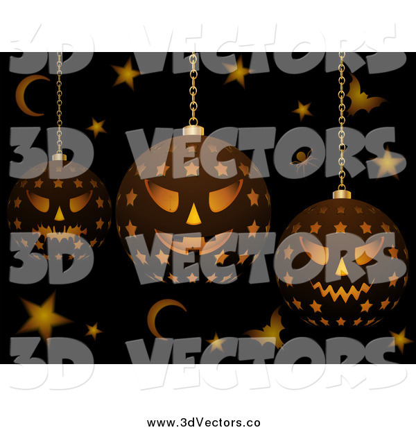 Vector Clipart of 3d Halloween Lanterns with Bats Stars and Moons