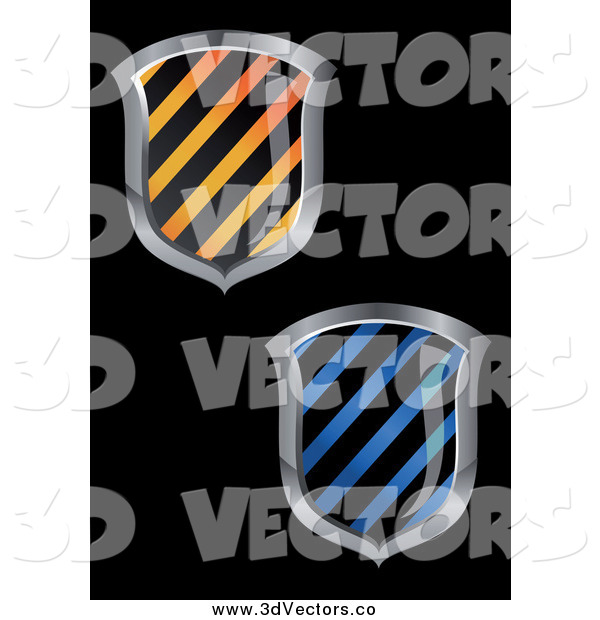 Vector Clipart of 3d Hazard Striped Shields on Black