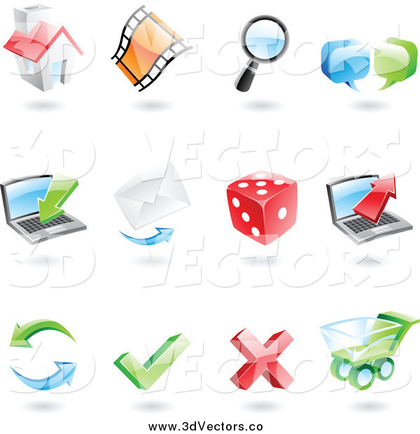 Vector Clipart of 3d Internet Icons