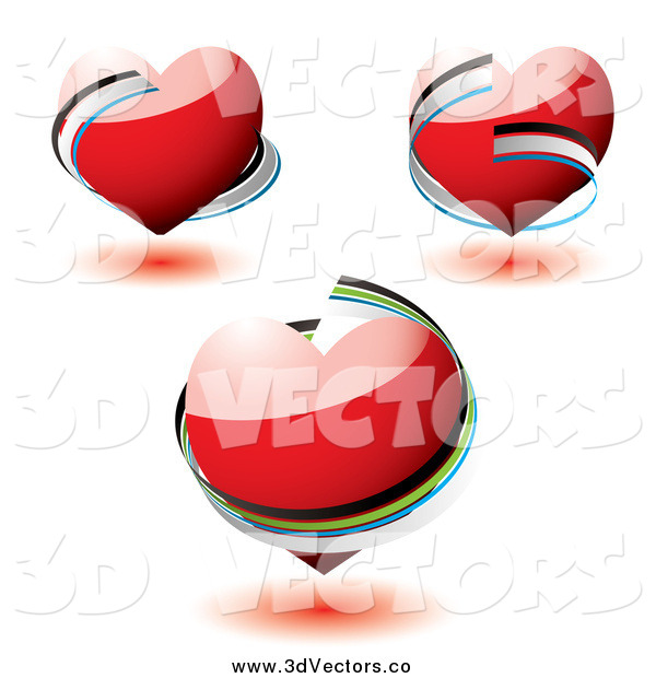 Vector Clipart of 3d Red Hearts with Ribbons Around Them