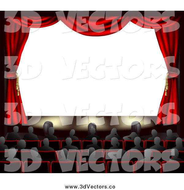Vector Clipart of 3d Red Theater Curtains and an Audience Facing a Blank Screen