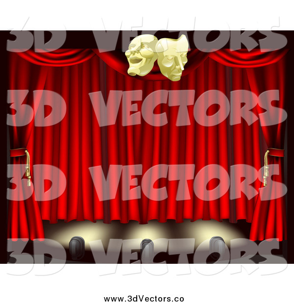 Vector Clipart of 3d Red Theater Stage Curtains Lighting and Masks