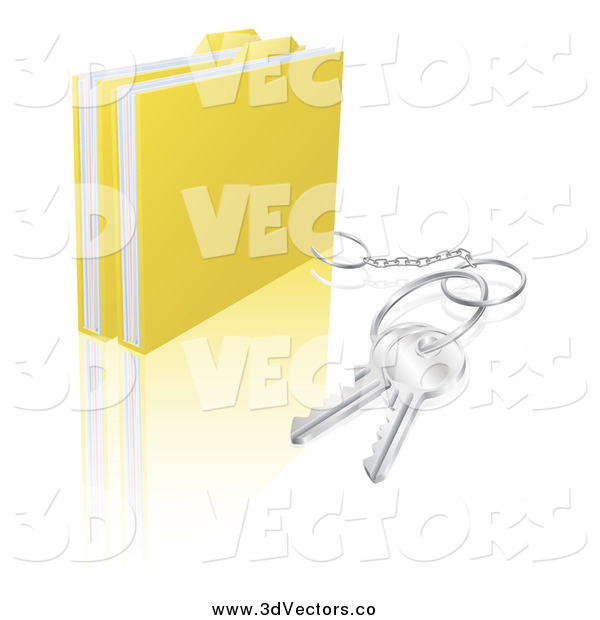 Vector Clipart of 3d Secure Folder Files with a Key Ring