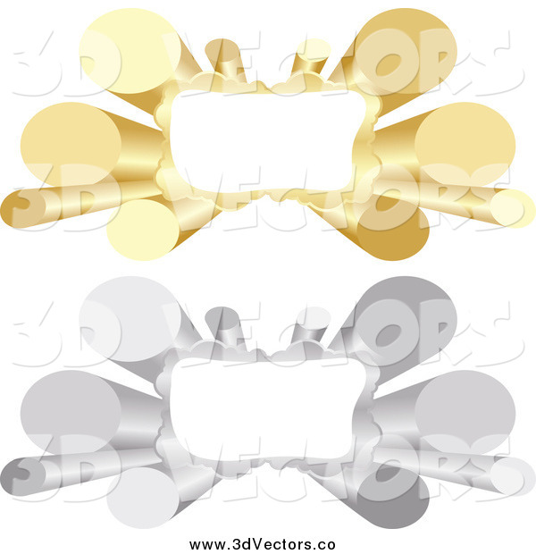 Vector Clipart of 3d Silver and Gold Tube Banners with Copyspace