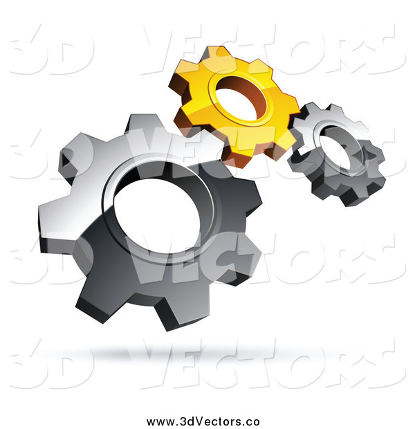 Vector Clipart of 3d Silver and Yellow Gears
