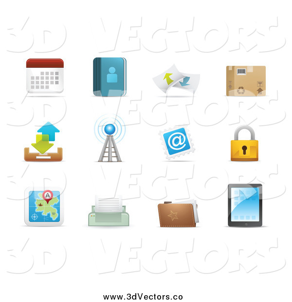 Vector Clipart of 3d Web Browser Communication Icons