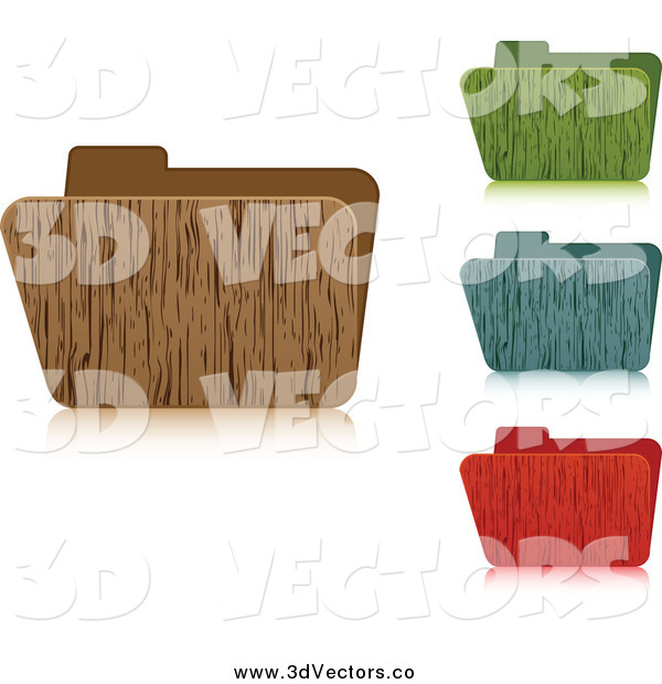 Vector Clipart of 3d Wooden File Folders