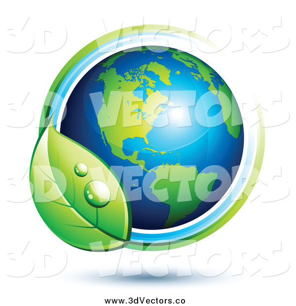 Vector Clipart of a 3d American Globe Circled with a Dewy Leaf