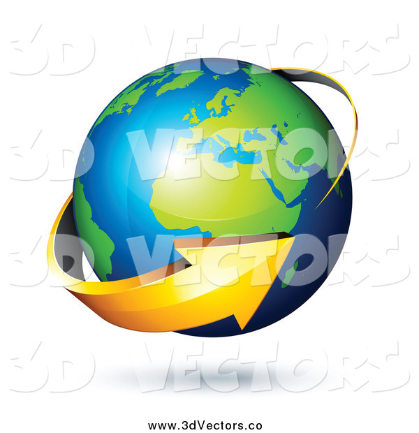 Vector Clipart of a 3d Arrow Circling a Green and Blue African and European Globe