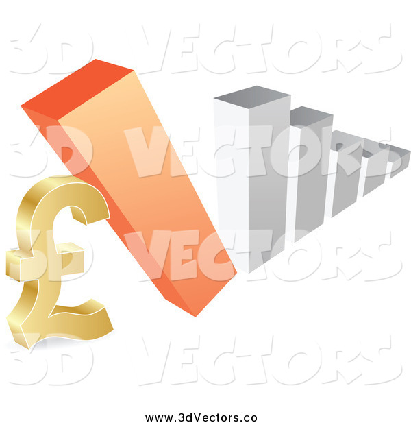 Vector Clipart of a 3d Bar Graph Falling down on a Lira Symbol