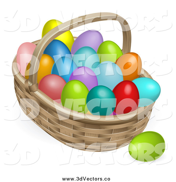 Vector Clipart of a 3d Basket Full of Colorful Easter Eggs