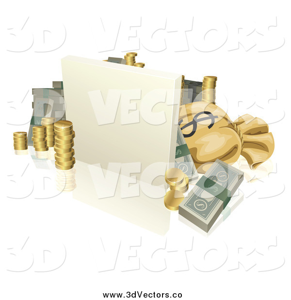 Vector Clipart of a 3d Blank Sign with Coins Cash and a Money Sack
