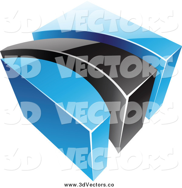 Vector Clipart of a 3d Blue and Black Swoosh and Cube