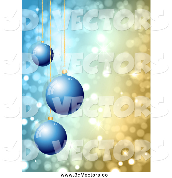 Vector Clipart of a 3d Blue Christmas Ornaments over Sparkly Lights