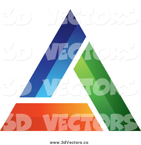 Vector Clipart of a 3d Blue Green and Orange Triangle Design