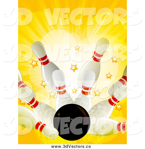 Vector Clipart of a 3d Bowling Strike with Stars and Rays