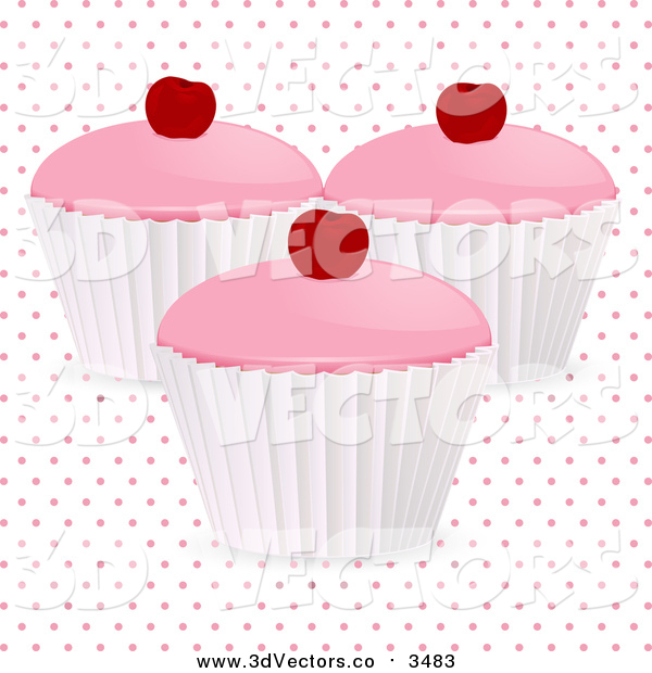 Vector Clipart of a 3d Cherry Cupcakes over Polka Dots on White