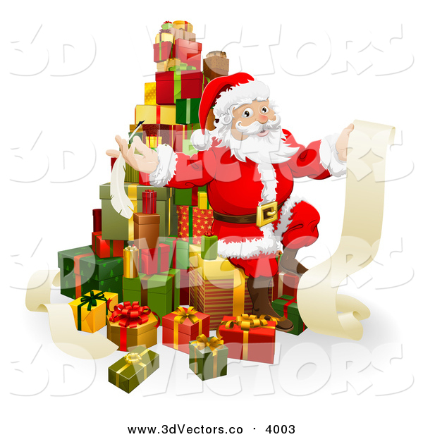 Vector Clipart of a 3d Christmas Santa Sitting on a Stack of Gifts with His List