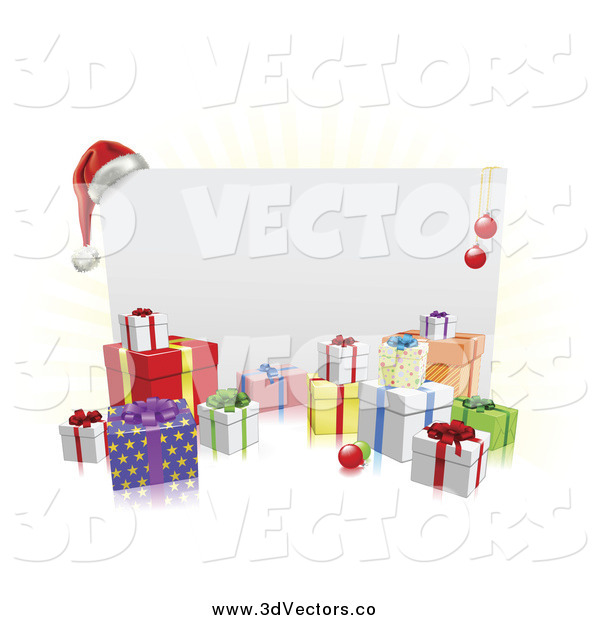 Vector Clipart of a 3d Christmas Sign with a Santa Hat Ornaments and Gifts