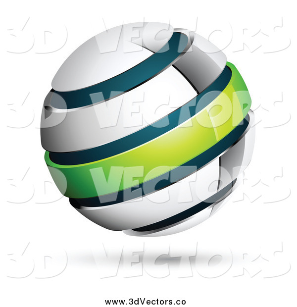 Vector Clipart of a 3d Chrome Blue and Green Globe