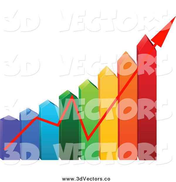 Vector Clipart of a 3d Colorful Arrow Energy Use Chart with an Arrow