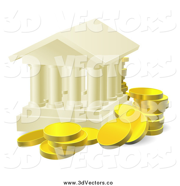Vector Clipart of a 3d Columned Building and Gold Coins