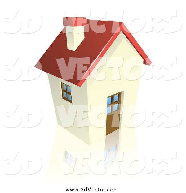 Vector Clipart of a 3d Cottage House