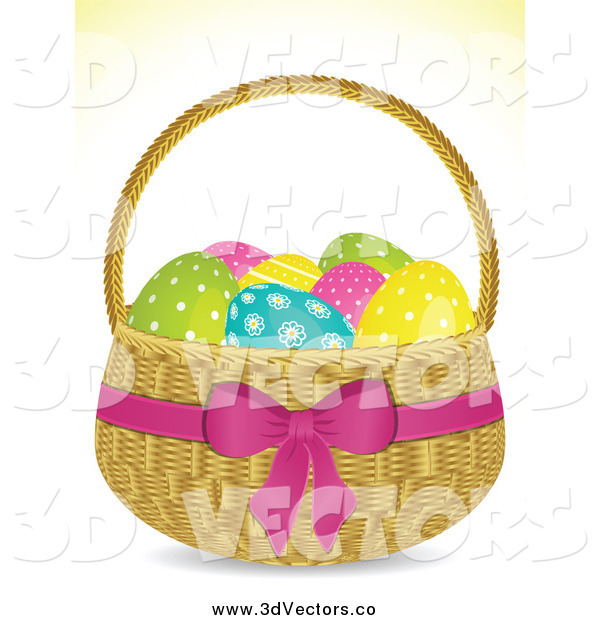 Vector Clipart of a 3d Easter Egg Basket