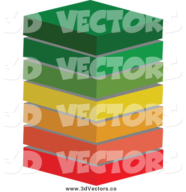 Vector Clipart of a 3d Energy Class Ratings Block Stack