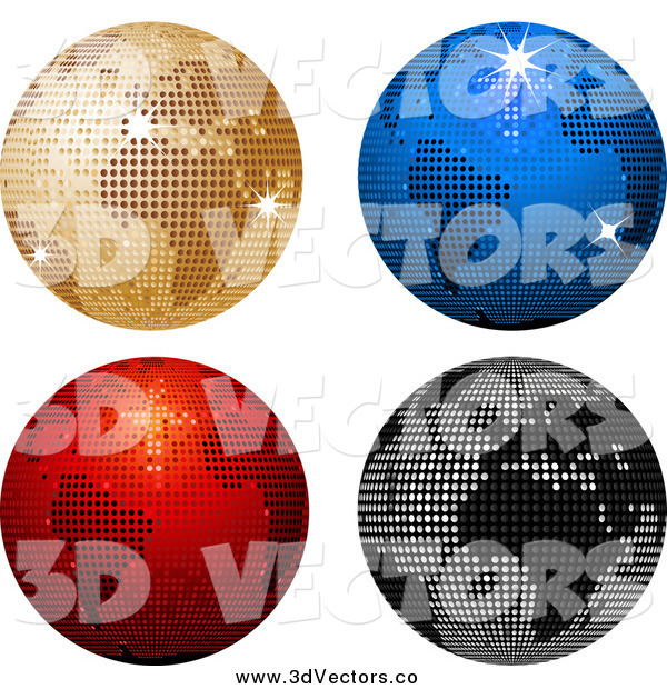 Vector Clipart of a 3d Four Sparkly Colorful Disco Ball Globes