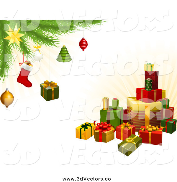 Vector Clipart of a 3d Gifts Under a Christmas Tree with Festive Ornaments