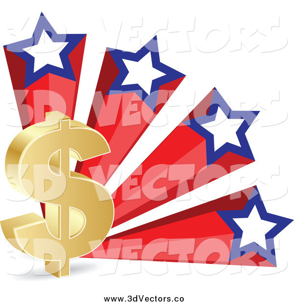 Vector Clipart of a 3d Gold Dollar Currency Symbol and American Stars