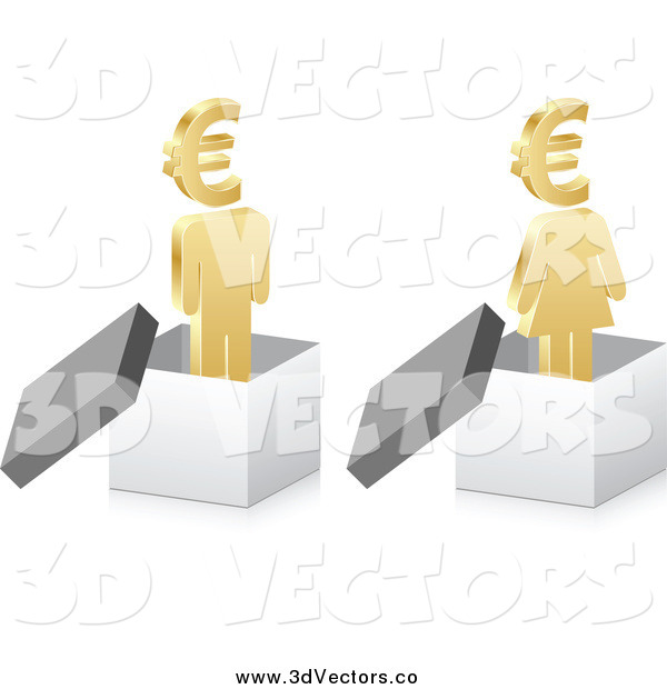 Vector Clipart of a 3d Golden Man and Woman in Boxes with Euro Currency Heads