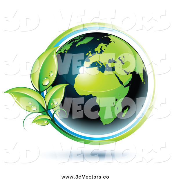 Vector Clipart of a 3d Green and Dark Blue African Globe