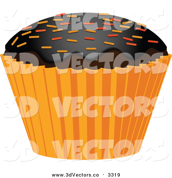 Vector Clipart of a 3d Halloween Cupcake with Sprinkles